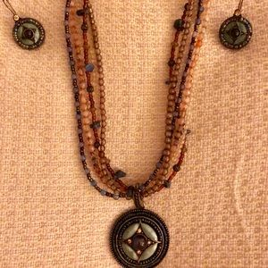 Gorgeous Multicolor Beaded Necklace w/Earrings